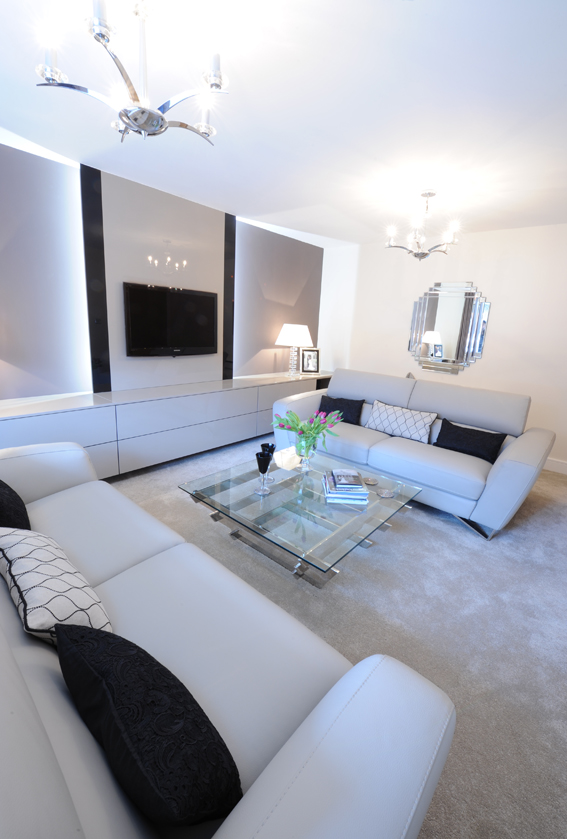 Luxurious neutrals used in a sophisticated living room environment